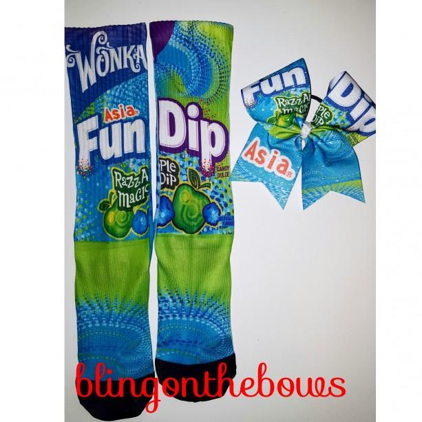 Fun dip custom socks and cheer bow set