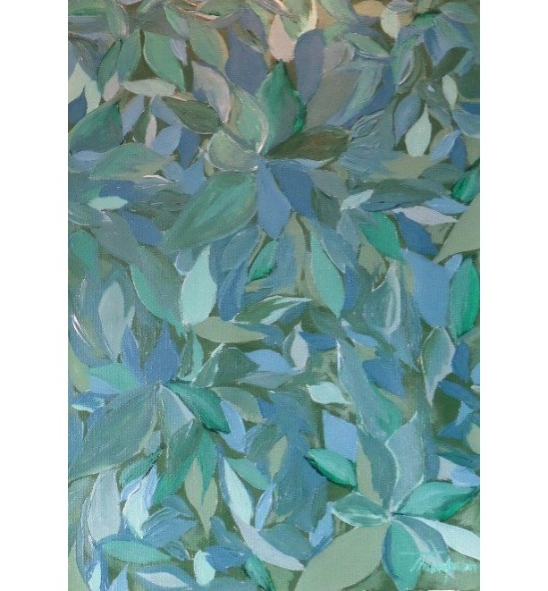 Original Green & Blue Acrylic Floral Painting