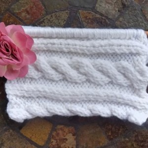 Black Cable Knit Clutch w/ Pink Flower