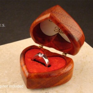 Heart shaped ring box of solid padauk.  Free engraving and shpping.  RB 65