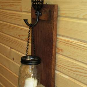 Rustic Mason Jar Wall Sconce,  Mason Jar Candle Holder, Wall Sconce with chevron design hook