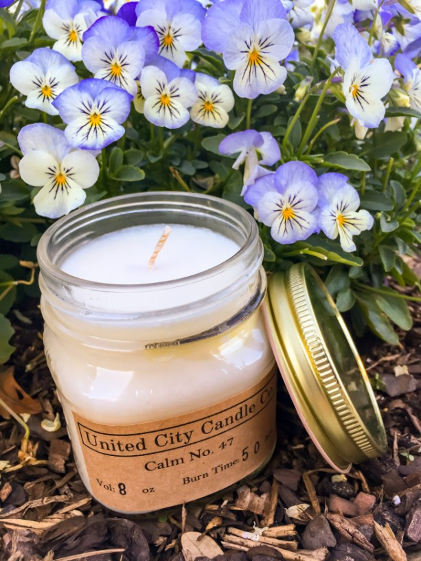 Calm No. 47 -- The quiet fresh air of smooth vanilla and sweet lavender fills your home. 100% soy candle. United City Candle Co. Made in USA