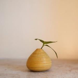 tiny textured yellow bud vase - handmade ceramics