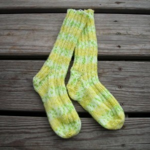 Women's Yellow/Green Striped  Hand-Knitted Socks