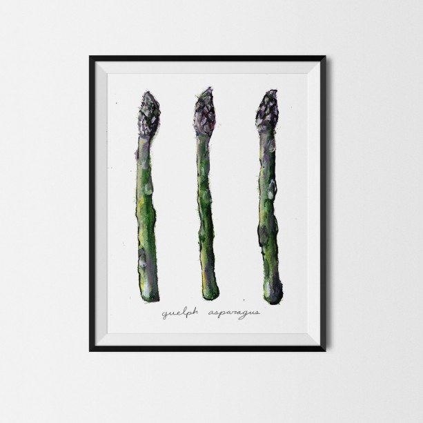 8x10 Asparagus Print, Asparagus Art, Food Illustration, Kitchen Decor, Carrot Painting, Art Print, Vegetable Print, Garden Painting, Veggie Art,