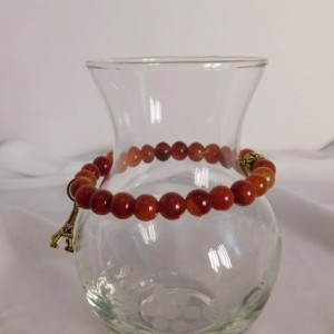 Fire Agate Beaded Bracelet, Eiffel Tower Charm