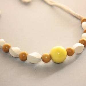 Mustard Yellow Creme Wood Beach Necklace