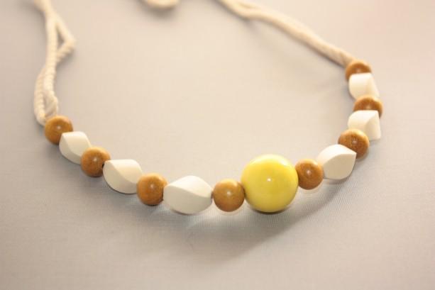 Mustard Yellow Creme Wood Beach Necklace