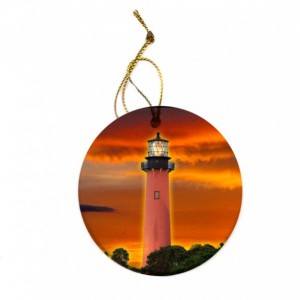 Jupiter Lighthouse Tropical Christmas Tree Ornament
