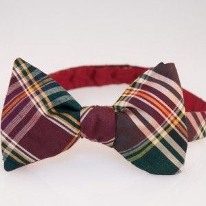 "Bow Tie - Burgundy/Green/Yellow Plaid ""Dickens"" Silk"