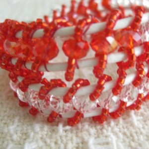 Leather beaded cuff bracelet in red and white Wrap bracelet