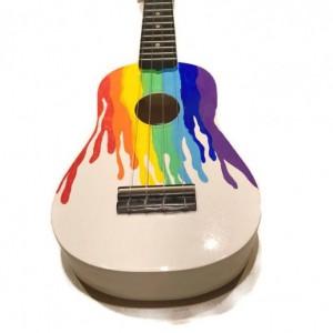 Soprano Rainbow Ukulele, Rainbow painted, rainbow drips, white ukulele, paint spill, rainbow spill, concert, tenor, baritone, guitar