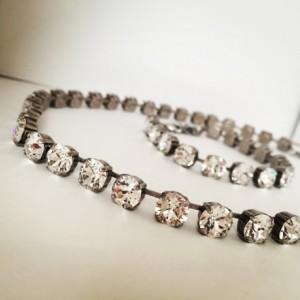 Genuine Swarovski Element Crystal Necklace, Bridal Jewelry Set, White Crystal Necklace, White Crystal Bracelet, Clear Crystal Jewelry, prom