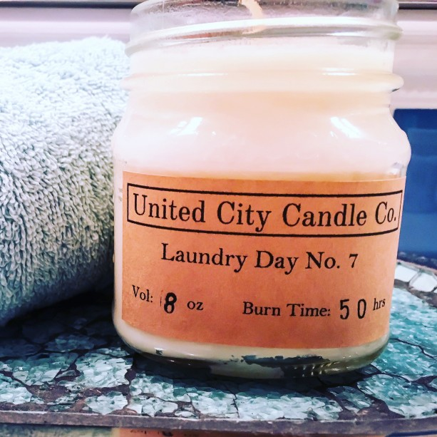 Laundry Day No. 7 --Afternoon sun shinning down on crisp cotton shirts. 100% soy candle. United City Candle Co.Made in USA