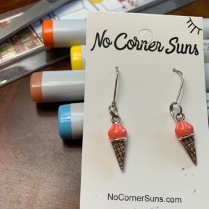 Peachy Coral Ice Cream Cone Earrings after Wayne Thiebaud's Painting- Free Shipping