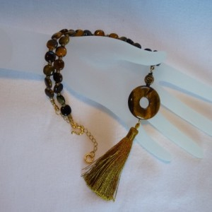Tiger Eye & Gold Tassel Necklace