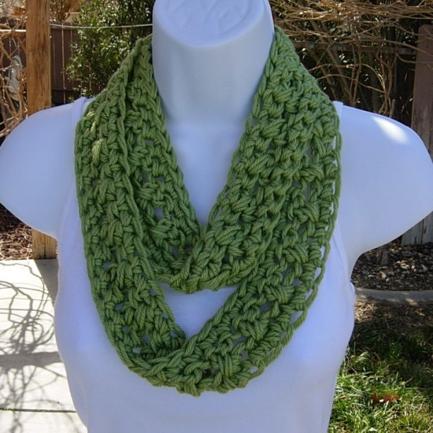 Skinny INFINITY LOOP SCARF Solid Pistachio Green Extra Soft Lightweight Summer Small Cowl Crocheted Necklace..Ready to Ship in 2 Days