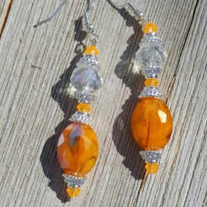 Orange Beaded Drop Dangle Earrings