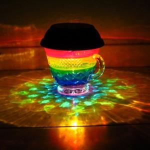 HandPainted Rainbow Solar Luminary Hurricane Lantern