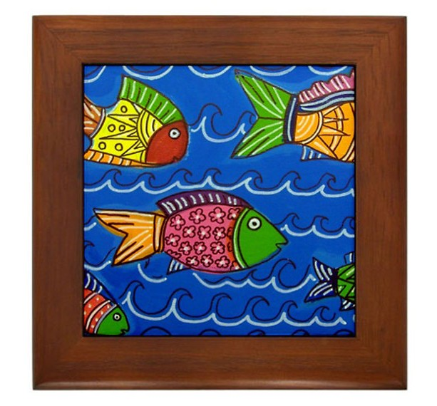 "Mexican Folk Art- ""Tropical Fish"" - FRAMED TILE By Artist A.V.Aposte"