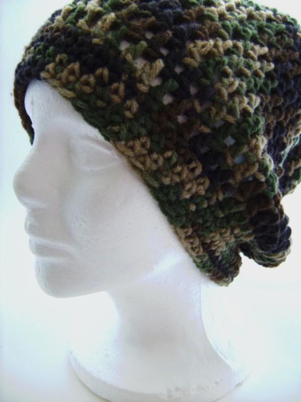Crochet Slouch Beanie Hat Camouflage Unisex
