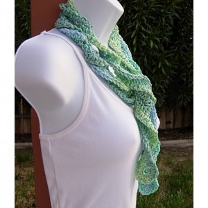 Blue and Green Skinny SUMMER SCARF Small 100% Cotton Spiral Crochet Knit Narrow Lightweight Twisted Scarf, Ready to Ship in 3 Days