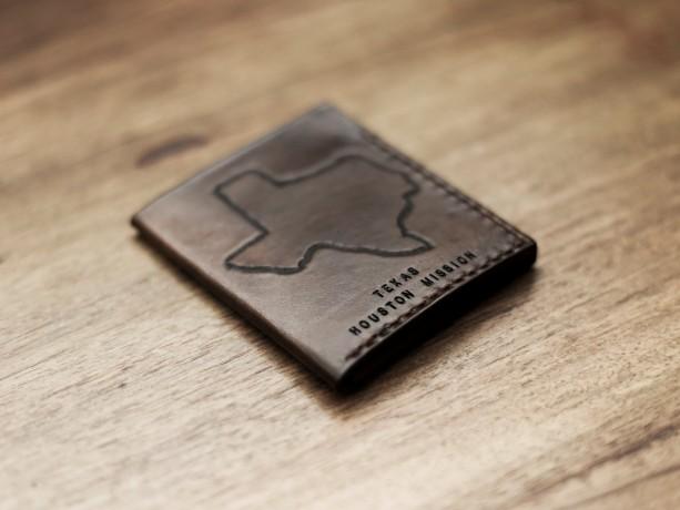 Mens Custom Leather Wallet, Hand Stamped Wallet, Mens Anniversary Gift (Dark Brown Color)