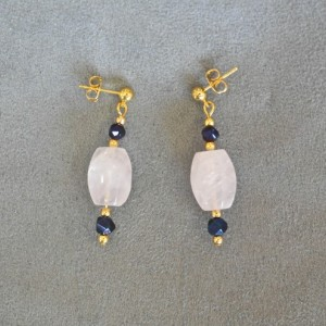 Rounded Rectangle Rose Quartz and Blue Bead Earrings with Gold Washed Post Earstuds