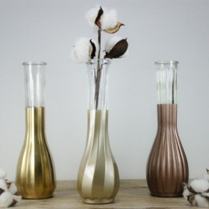 Wedding Vase Collection Set of 6 - Gold Copper Champagne - Vintage Vases - Wedding Centerpiece - Gold Dipped Vases - Customize Your Color