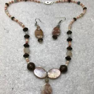 "Budding Romance handmade beaded necklace/matching earrings 20"" long blushing romantic redline marble stone glass beads passion nickel free"