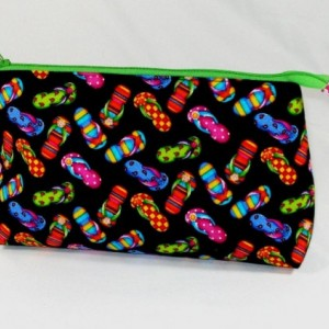 COLORFUL FLIP FLOP Cosmetic Bag , Gift Bag, Bridesmaid Gift, Holiday Gift, Toiletry Bag, Pencil Case, Travel Bag