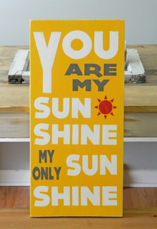 You Are My Sunshine My Only Sunshine - Distressed Wood Typography Sign - Home Decor - Kids Room - Kids Decor - Kids Sign