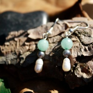 Dangle pearl and aqua earrings