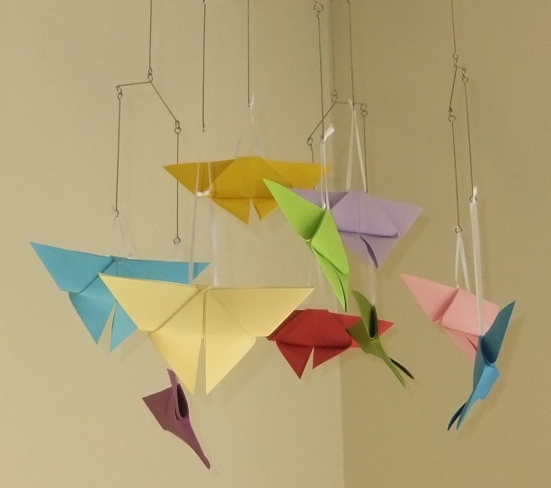 rainbow origami butterfly mobile aftcra