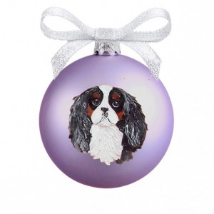 Cavalier King Charles Spaniel Tri Color Face Hand Painted (NOT digital) Glass Ball Christmas Ornament - Can Be Personalized with Name