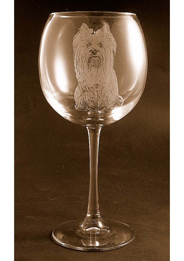 Etched Yorkshire Terrier / Yorkie on Elegant Wine Glass (set of 2)