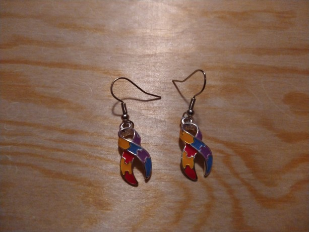 Autism ribbon earrings