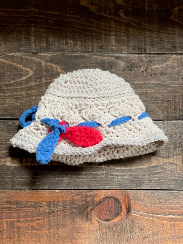 Handmade crochet baby summer sunhat. Fisherman style with handmade fish ornaments