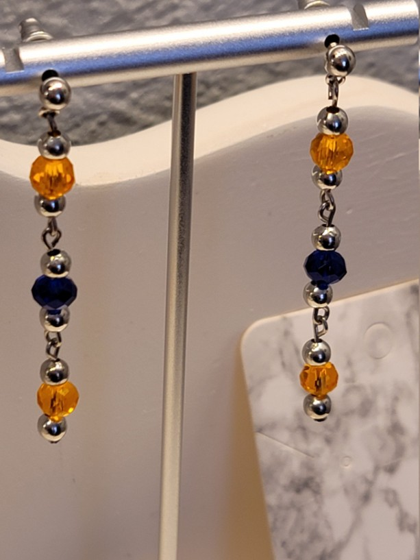 Orange and blue with silver bead earrings