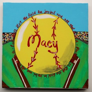 "Softball Art -- Bible Verse Psalms 96:12 ""Let the field be joyful and all that is in it."" Size 8""x8"""