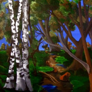 Evening Stroll through the woods - Acrylic painting of trees in the woods with beautiful blue sky