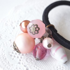 Hair Elastic Pink Color Beads Looks Like Candy Ponytail Pastel Color Hair Accessory Jewelry