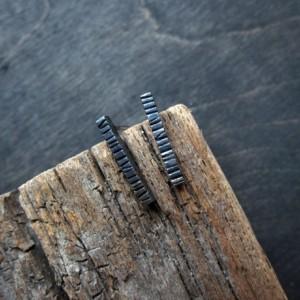 Blackened Graved Recycled Sterling Silver Bar Post Earrings
