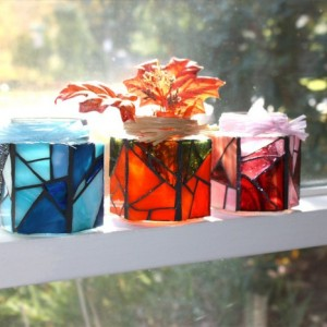 Stained Glass Jar Candle Holder, Stained Glass Vase Jar
