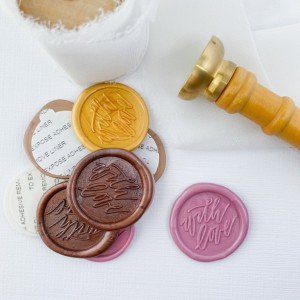 """10 Pack: """"With Love"""" Script Wax Seals, Self Adhesive"""