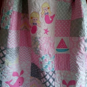 Nautical baby girl mermaid quilt in grey and pink