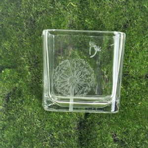 Engraved Glass Dandelion Votive
