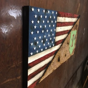 Wood American Flag and 1st Infantry Division