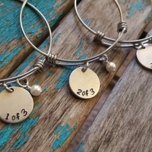 "Set of Three Sister's or Three Friend's Bracelets- hand-stamped ""1 of 3"", ""2 of 3"", ""3 of 3"" Three Bracelet Set"