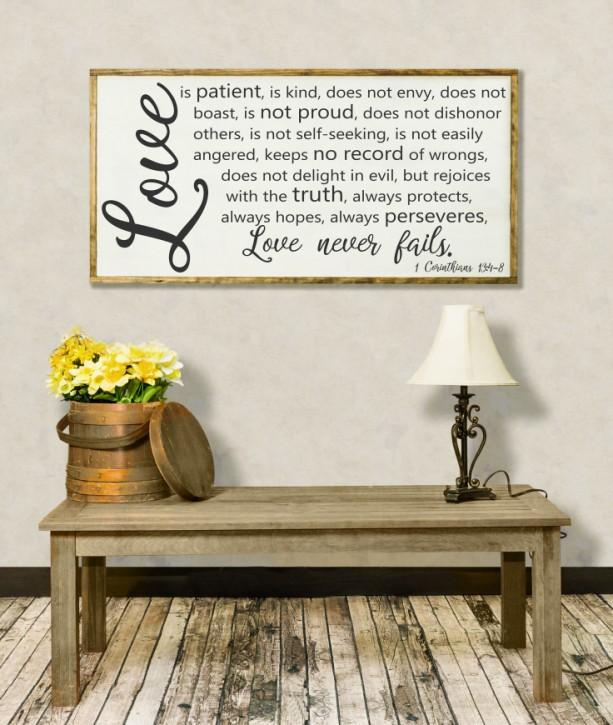 love is patient love is kind sign love never fails framed. Black Bedroom Furniture Sets. Home Design Ideas